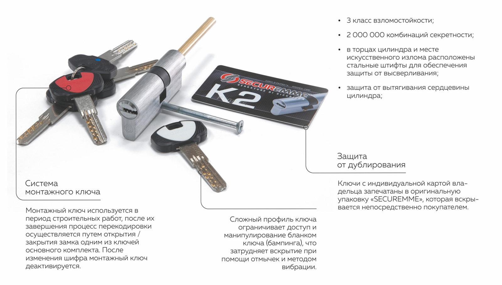 Цилиндр с перекодировкой securemme k2