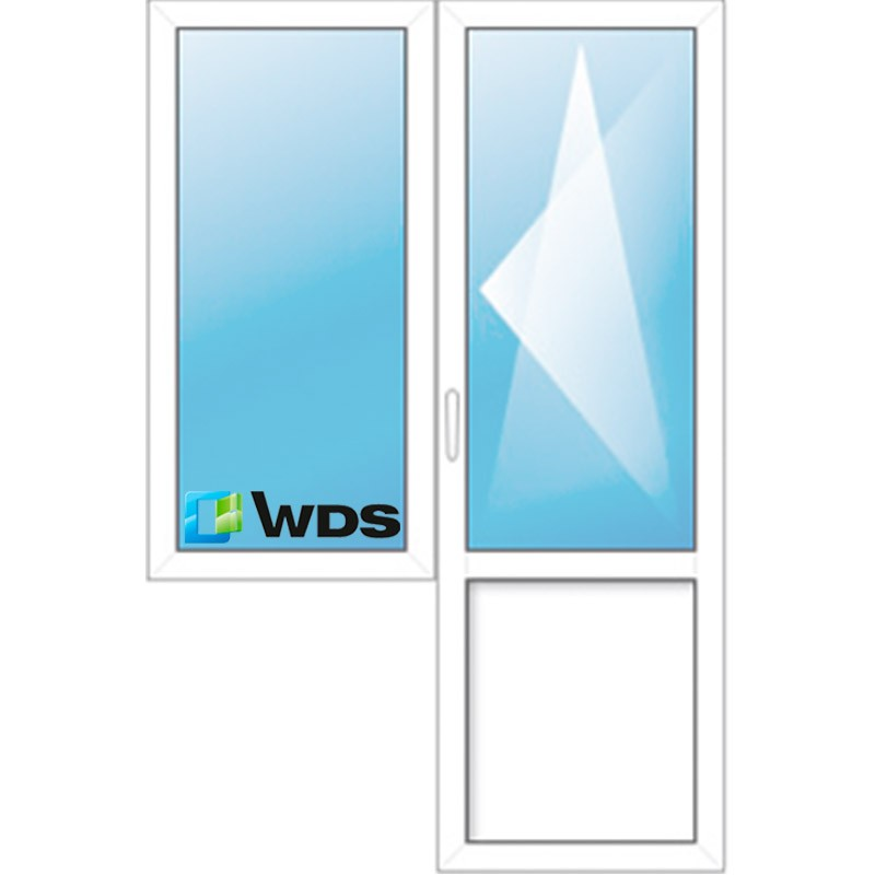 Стандартная балконная группа пвх с попоротно-откидной створкой двери