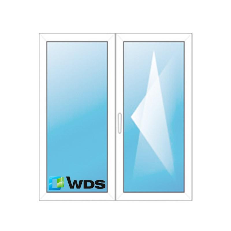Двухстворчатое стандартное окно пвх с одной попоротно-откидной створкой